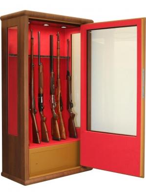 Coffre INFAC Vitrine Bois LV90 14 armes avec lunette - coffre intérieur - Eclairage (302 kg)